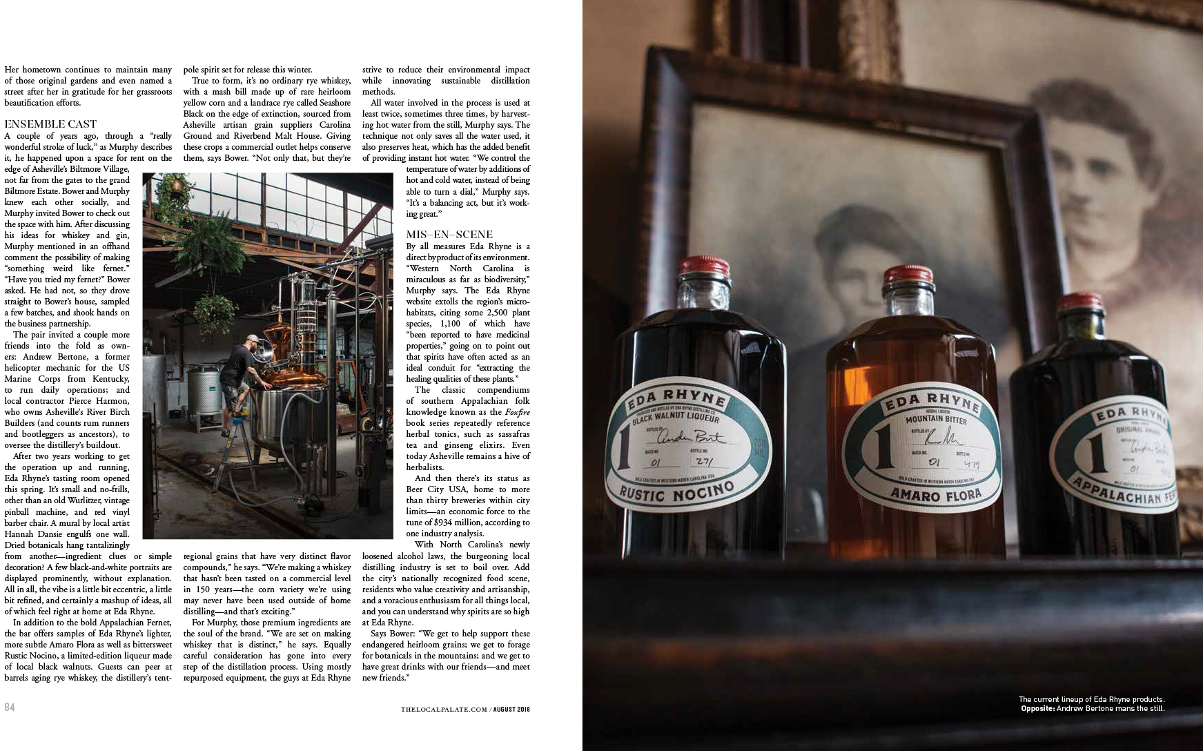 The Local Palate Magazine Asheville Jack Sorokin Flame Photography Commercial Editorial Eda Rhyne Distillery