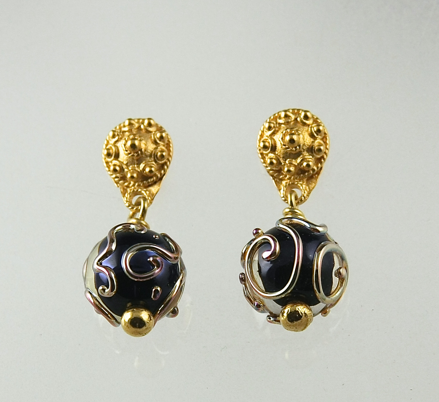 Black Florentine Post Earring