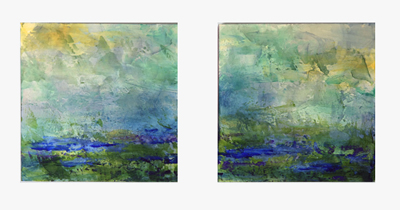 "#1523 Water Diptych, acrylic on board, each panel 8""x8"""