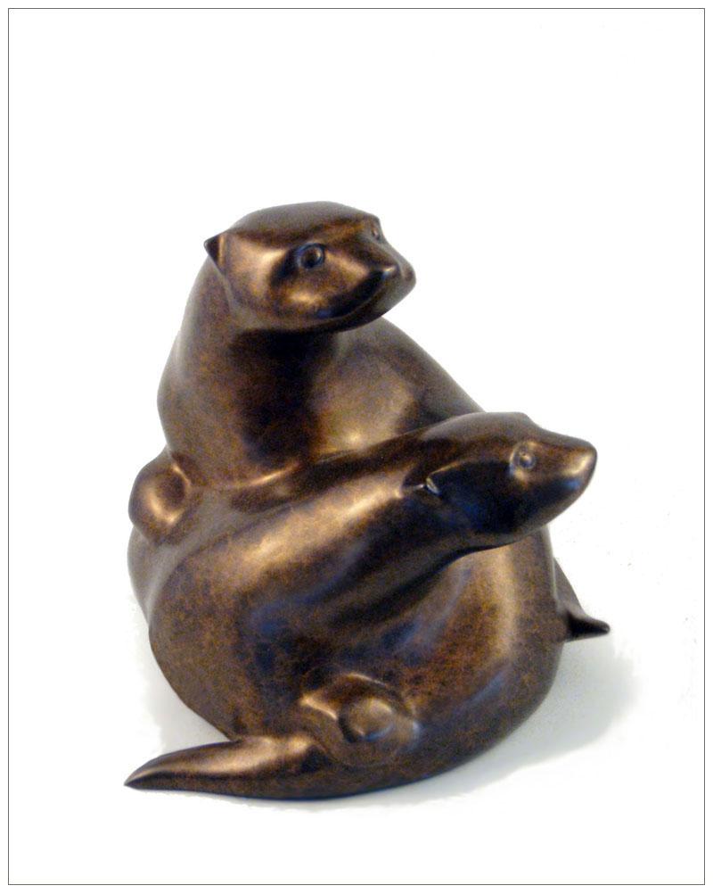 """Otter Twins - © 2009 Kristine Taylor, Bronze, edition of 15, 5.5""""H x 6""""L x 5.5""""W"""