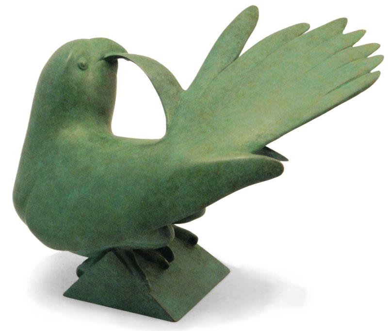"""Preening Parrot - © 2010 Kristine Taylor, Bronze, edition of 15, 6""""H x 9""""L x 6""""W"""