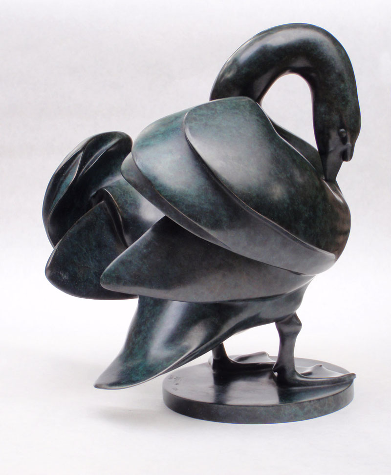 """Preening Swan - © 2010 Kristine Taylor, Bronze, edition of 15, 9.5""""H x 9""""L x 7.5""""W 2013 Awarded the Bedi-Makky Prize for bronze sculpture at the National Sculpture Society's 80th Annual Awards Exhibition"""