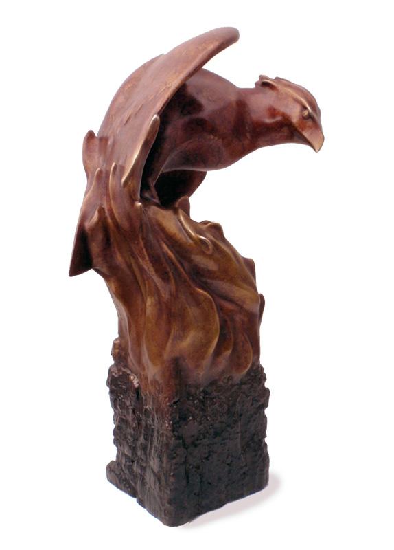 """Phoenix Rising - © 2012 Kristine Taylor, Bronze, edition of 15, 13""""H x 8.5""""L x 5""""W"""
