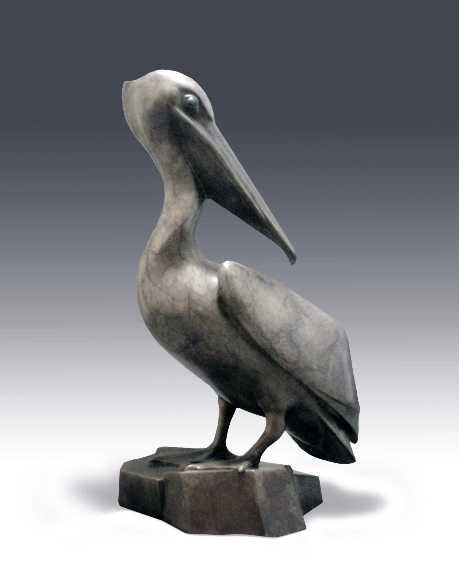 """Pelican Repose - © 2015 Kristine Taylor, Bronze, edition of 15, 11""""H x 6""""W x 6.5""""L"""