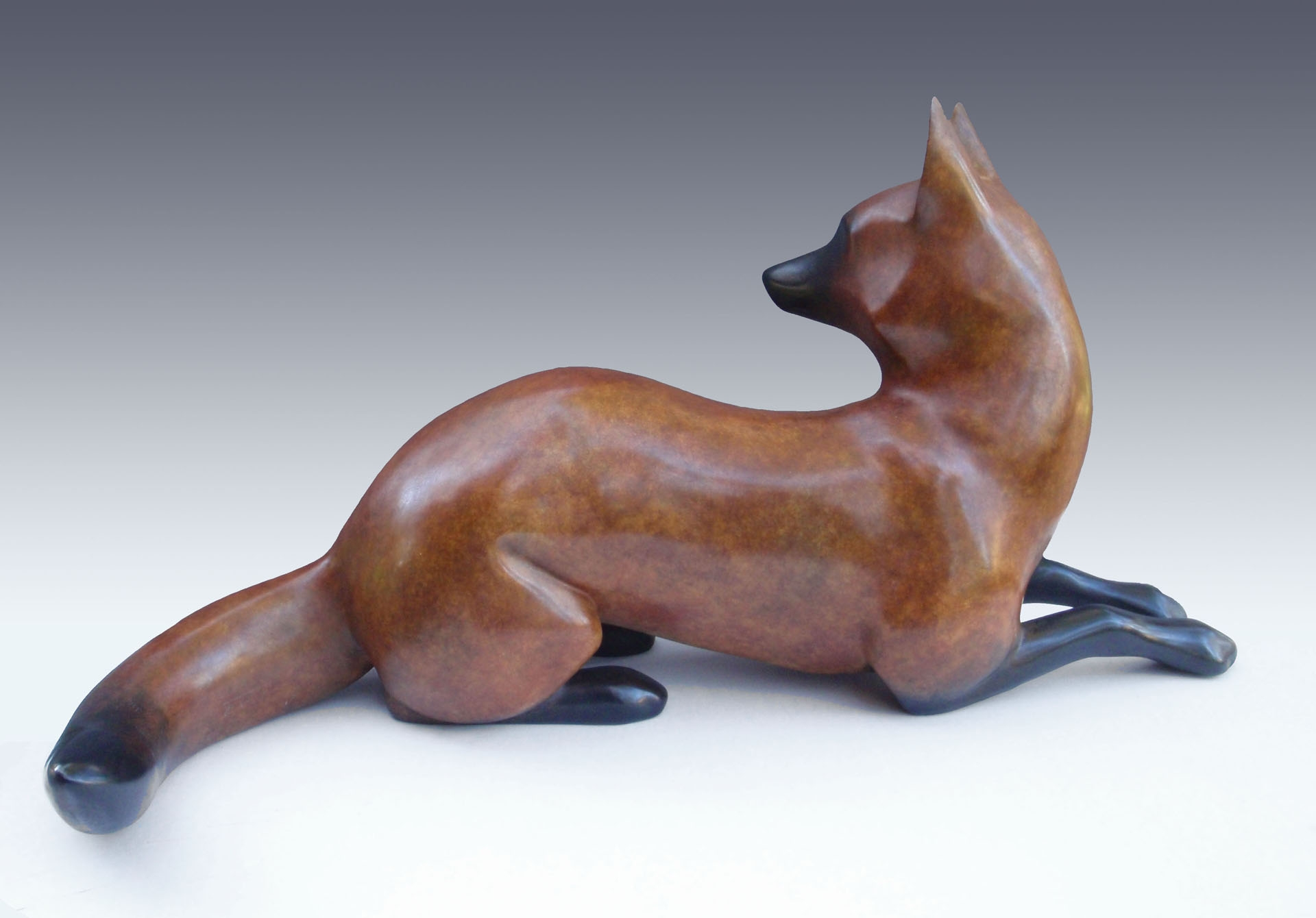 "Red Fox -  © 2016 Kristine Taylor, Bronze, edition of 15, 11.5""H x 11""W x 24""L"