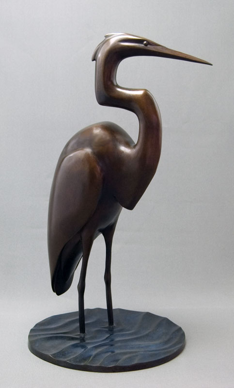 "Standing Egret  - ©2017 Kristine Taylor, Bronze, edition of 15, 23""H x 13""L x 12""W"
