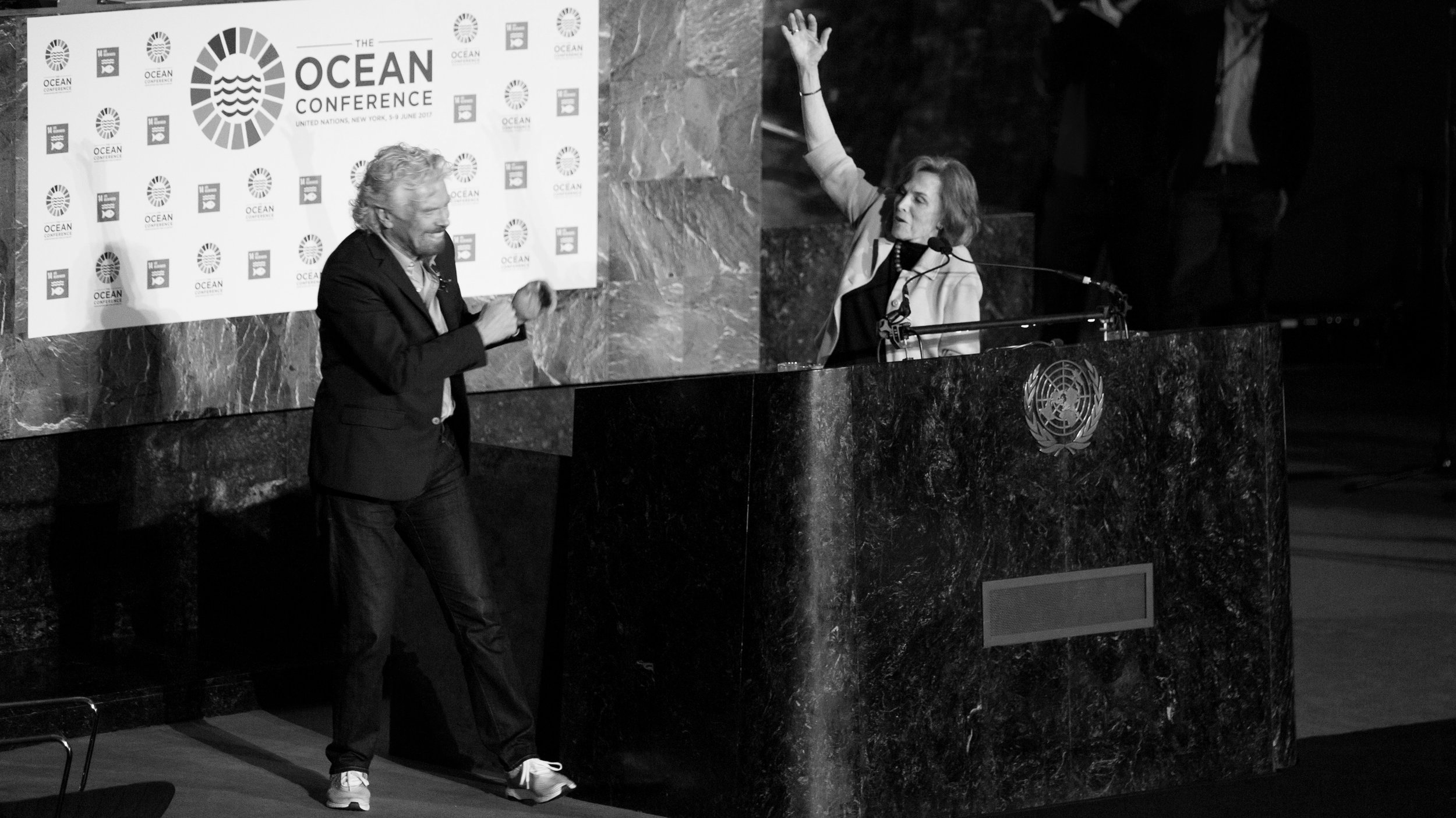 Richard Branson in adidas Parley shoes, Dr. Sylvia Earle