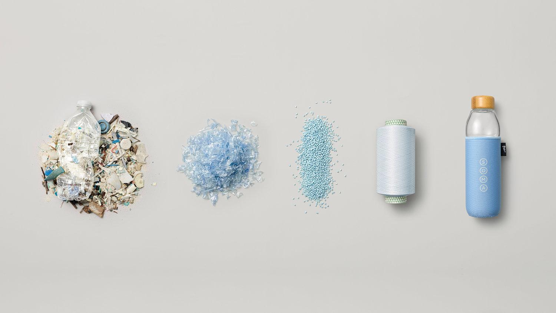海洋プラスチックでできた飲料ボトル