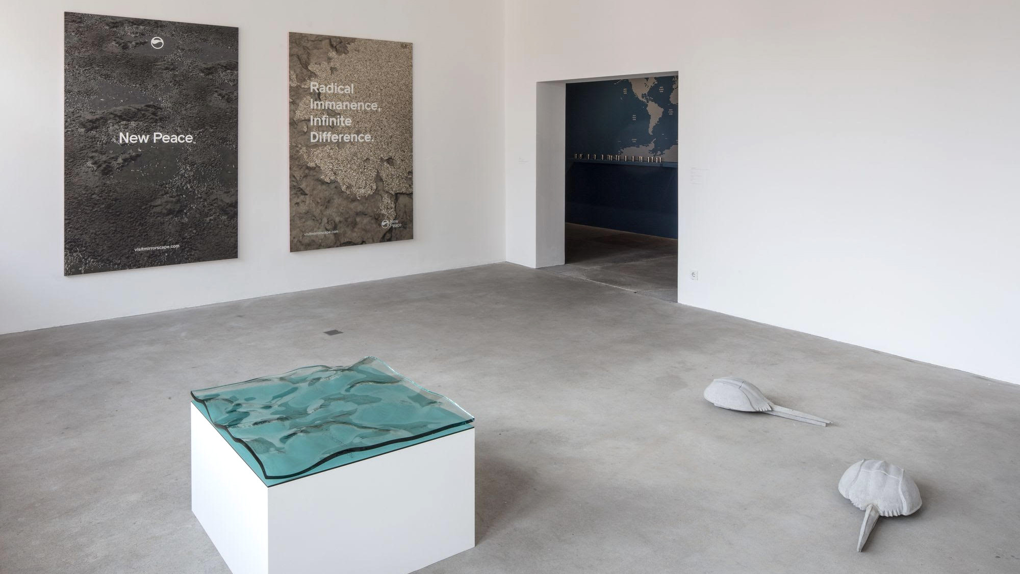 Installation view: Tue Greenfort, Seascape I, 2017, Glas / glass und Detail / and detail: Horseshoe Crab #02 – #06, 2017, Beton / concrete; Timur Si-Qin, Untitled (Sacred Matter Panel 1), 2017, Inkjet print on aluminium sandwich panel. Courtesy the artist and Société.