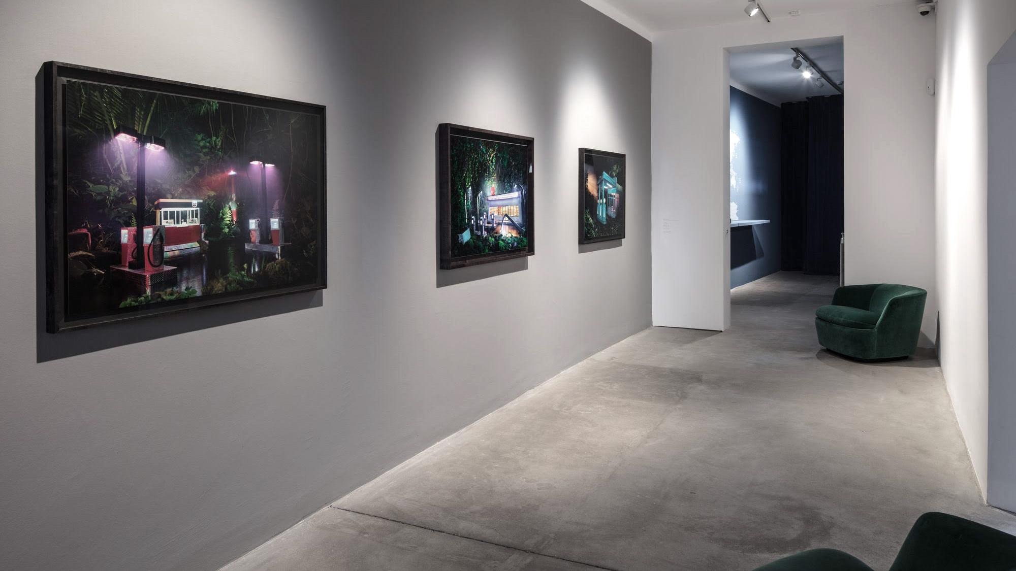 Installation view: David LaChapelle: Gas Chevron, Gas am pm, Gas 76, all 2012, C-prints. Courtesy David LaChapelle Studio.
