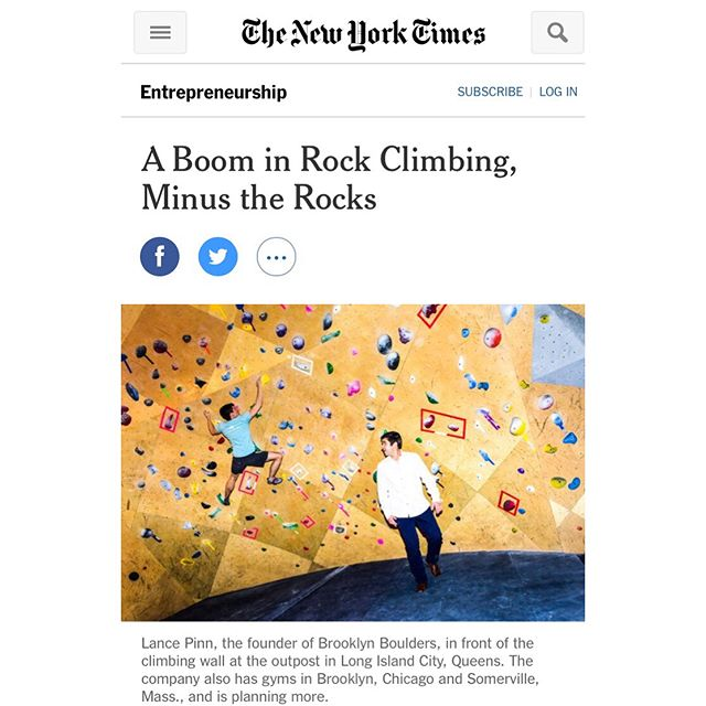 In case you missed it in your copy of today's Times. We were grateful to lend our perspective and share our story for this article. Turned into more of a mention than a feature, but the article gives a good picture of the state of our industry at present.  #climbelemental  #elementalclimbing #climbing