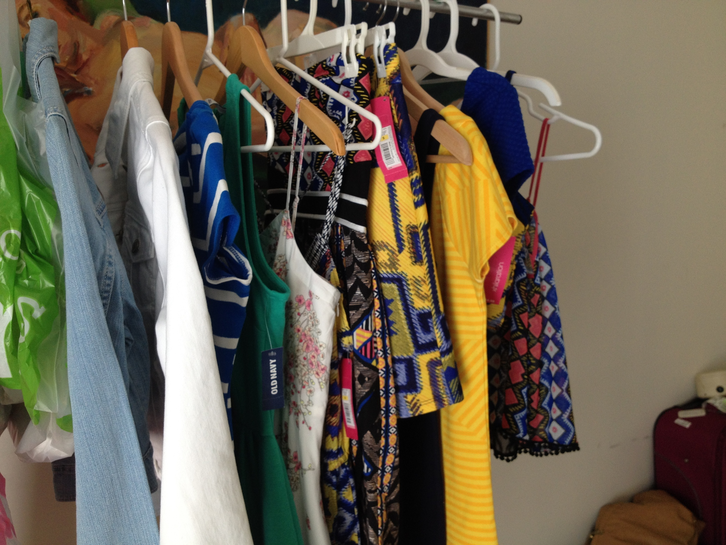 SHOOT DAY! All of the outfits hung up and ready to be steamed on location!
