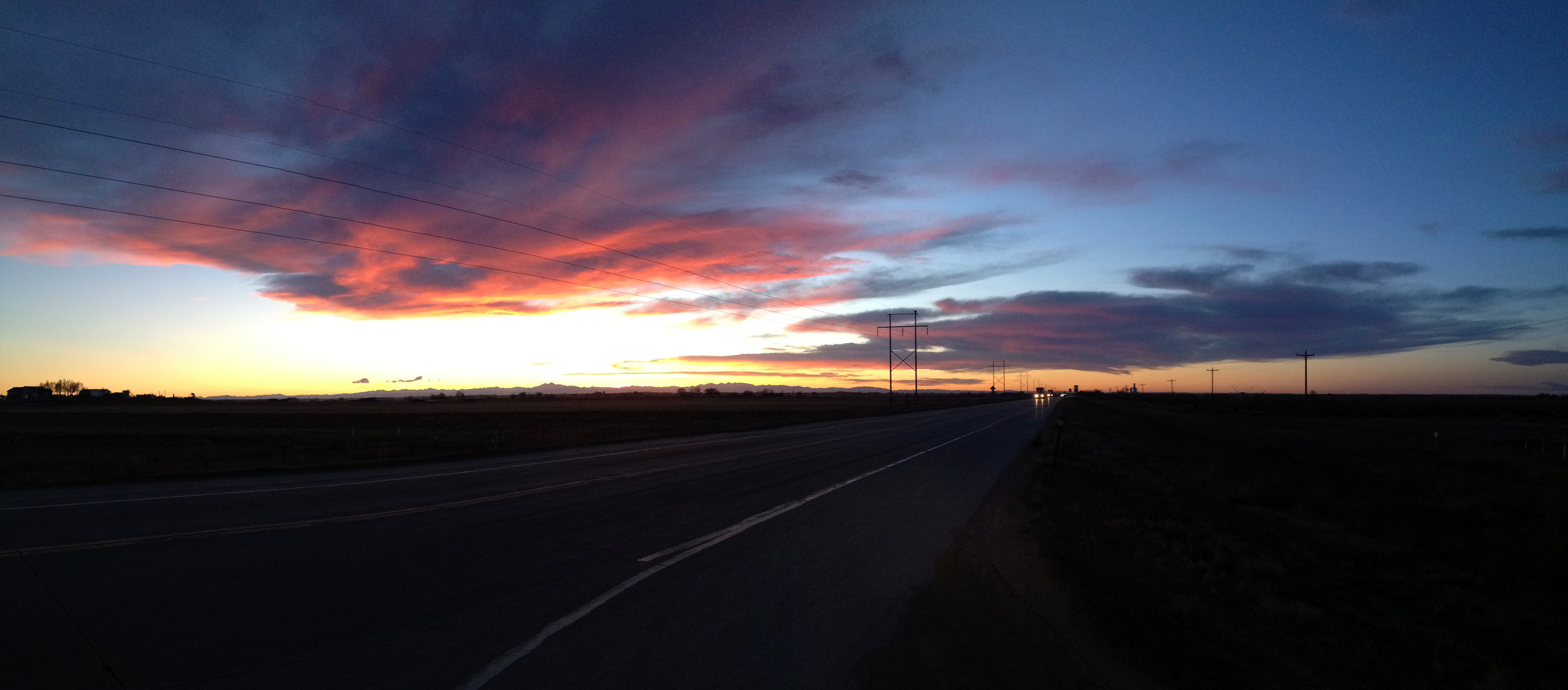 The most amazing thing was approaching the Rocky Mountains from a great distance and seeing them appear on the horizon. I was so blessed to get this beautiful sunset along with it. COLORADO.