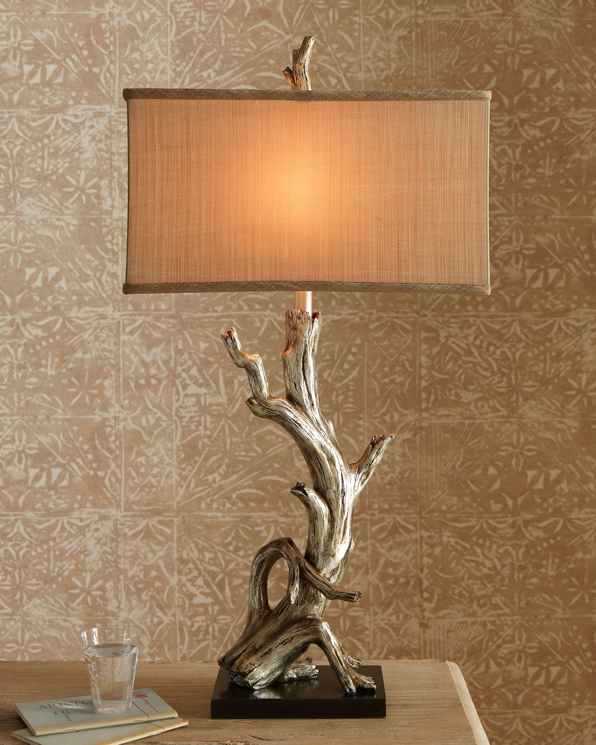 Gold Resin Driftwood Lamp from Horchow