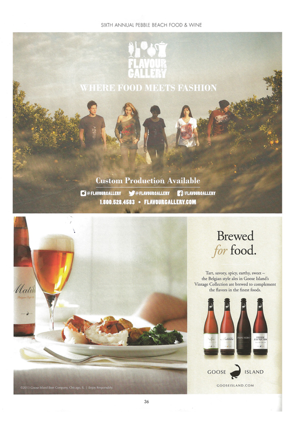 Client: Flavour Gallery // Half page ad in the Pebble Beach Food & Wine Epicure 2013  Concept, Layout, Typography, Photo Editing