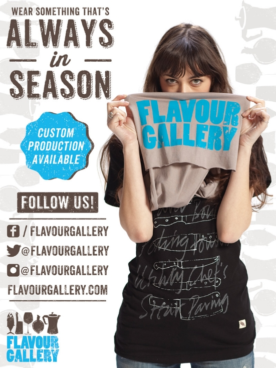 Client: Flavour Gallery //Full page ad in South Beach Wine & Food Festival's Tasting Notes Magazine 2014  Concept, Layout, Typography, Photo Editing