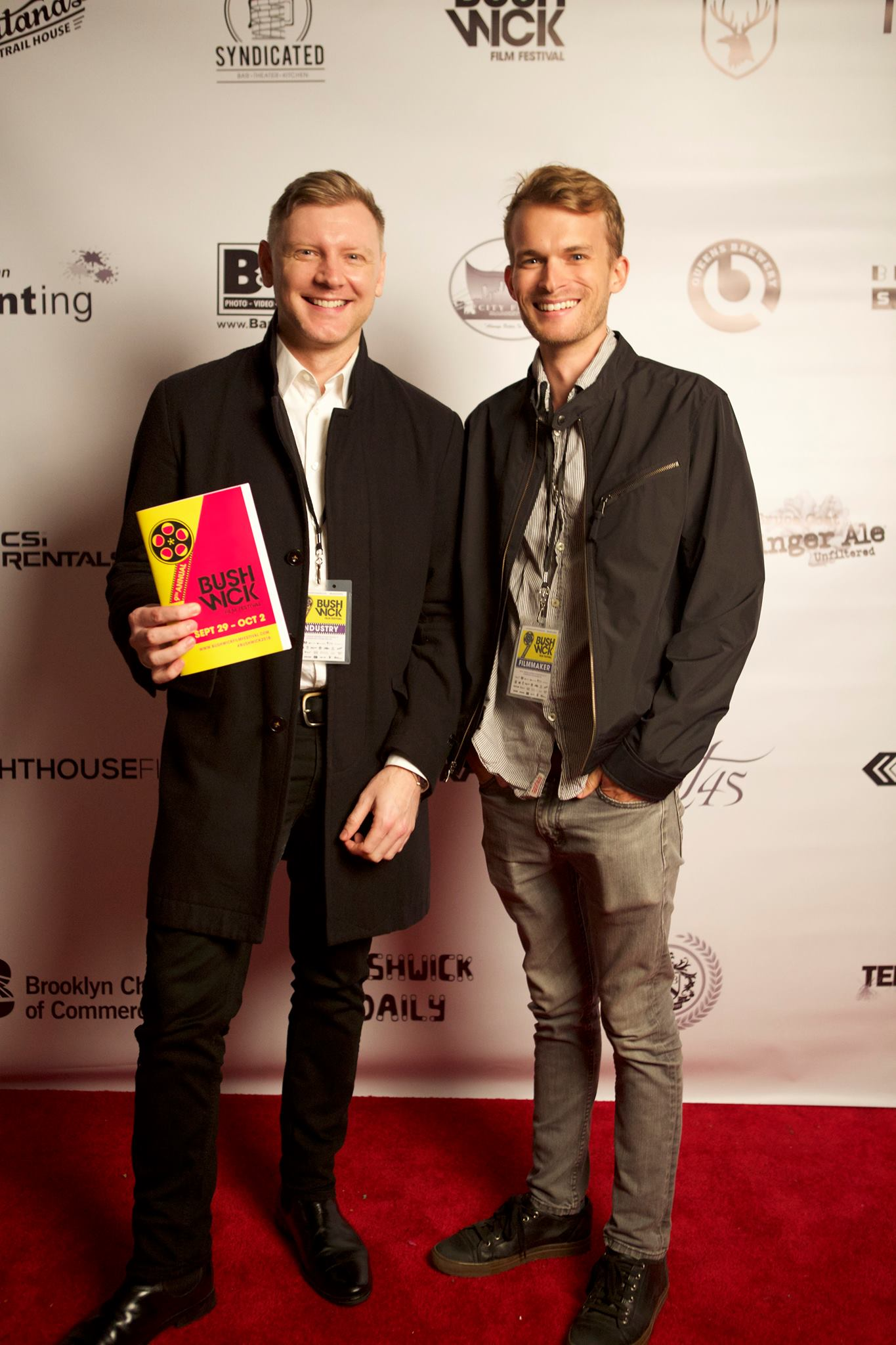 Ian Scott McGregor (left) and Will at a screening of First Night Out for the Bushwick Film Festival.