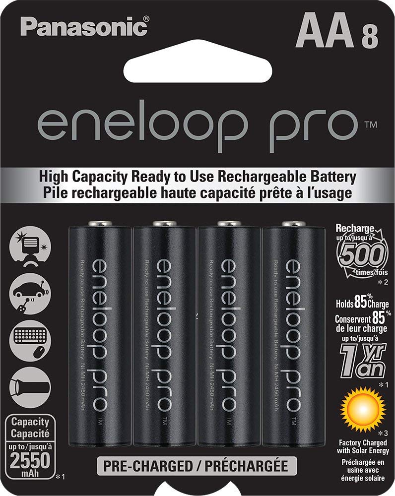 Panasonic Eneloop Pro AA High Capacity Ni-MH Pre-Charged Rechargeable Batteries (8-pack)