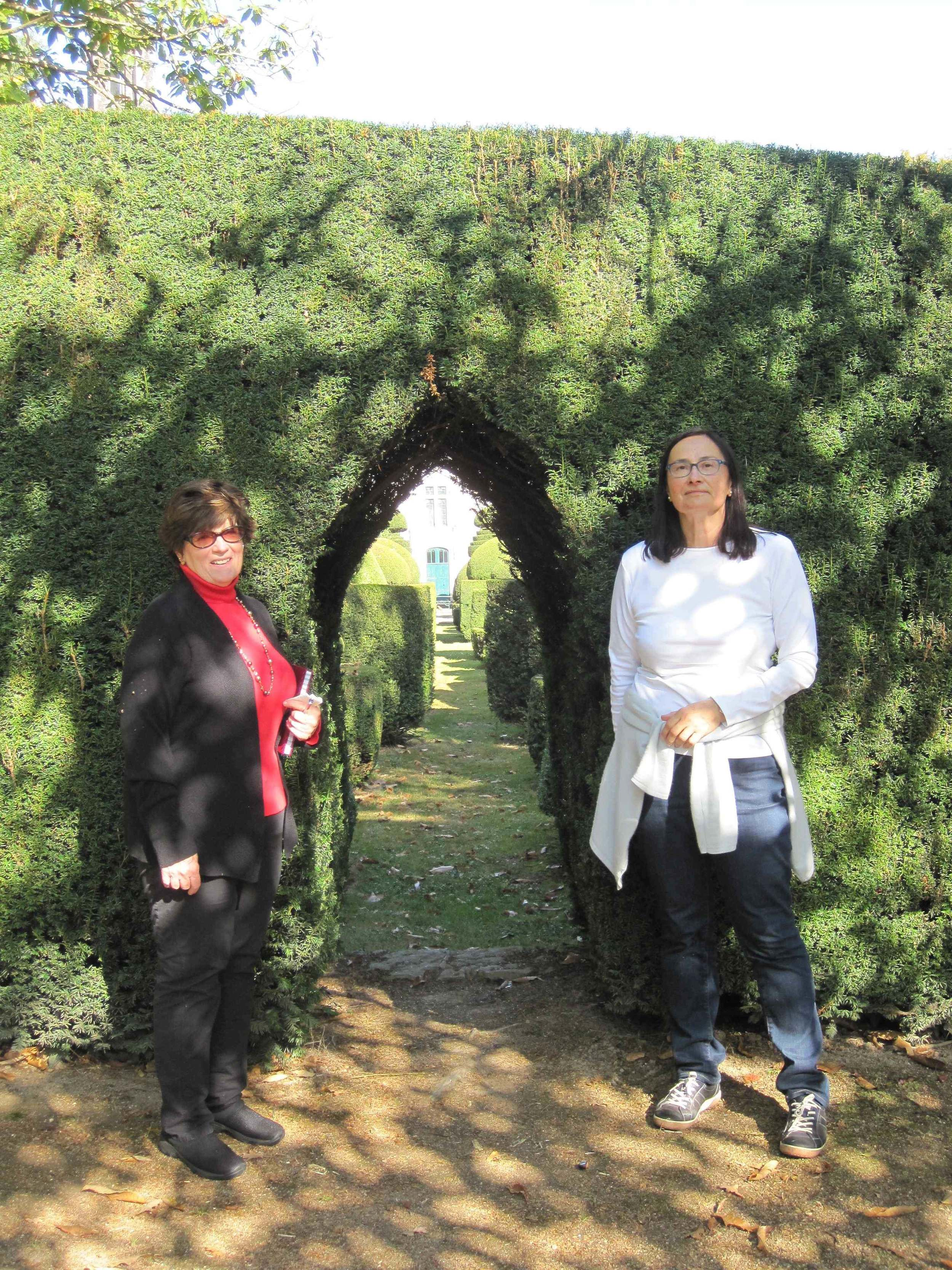 Mary and Candace in the topiary garden
