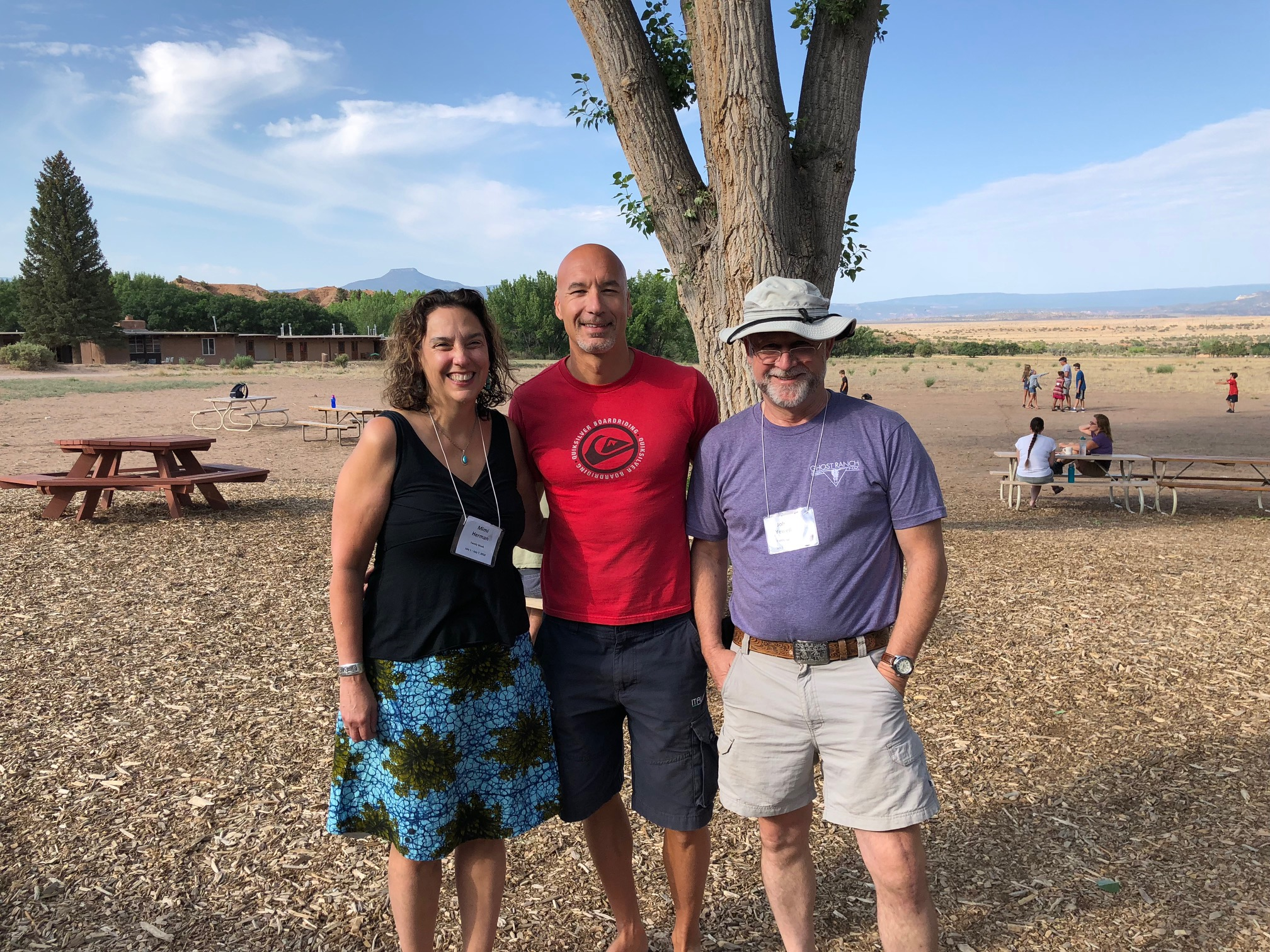 Mimi and John with astronaut Luca Parmitano at Ghost Ranch in New Mexico, July, 2018.