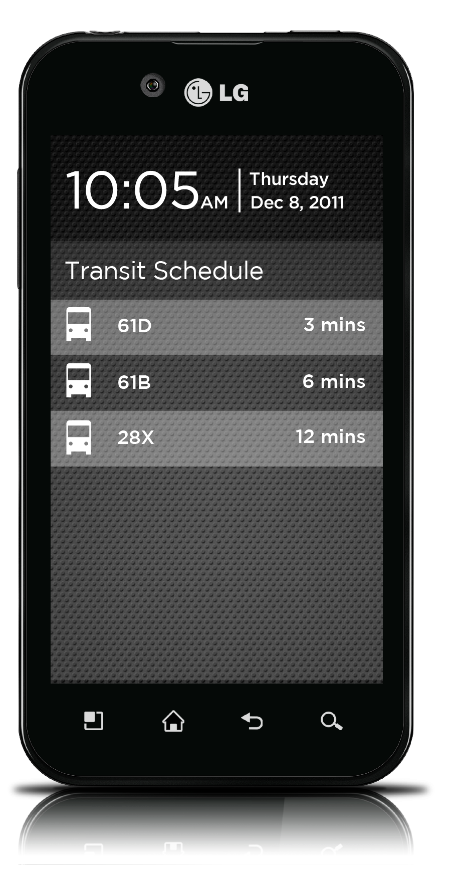 Upcoming public transit schedule is shown for the user's stop