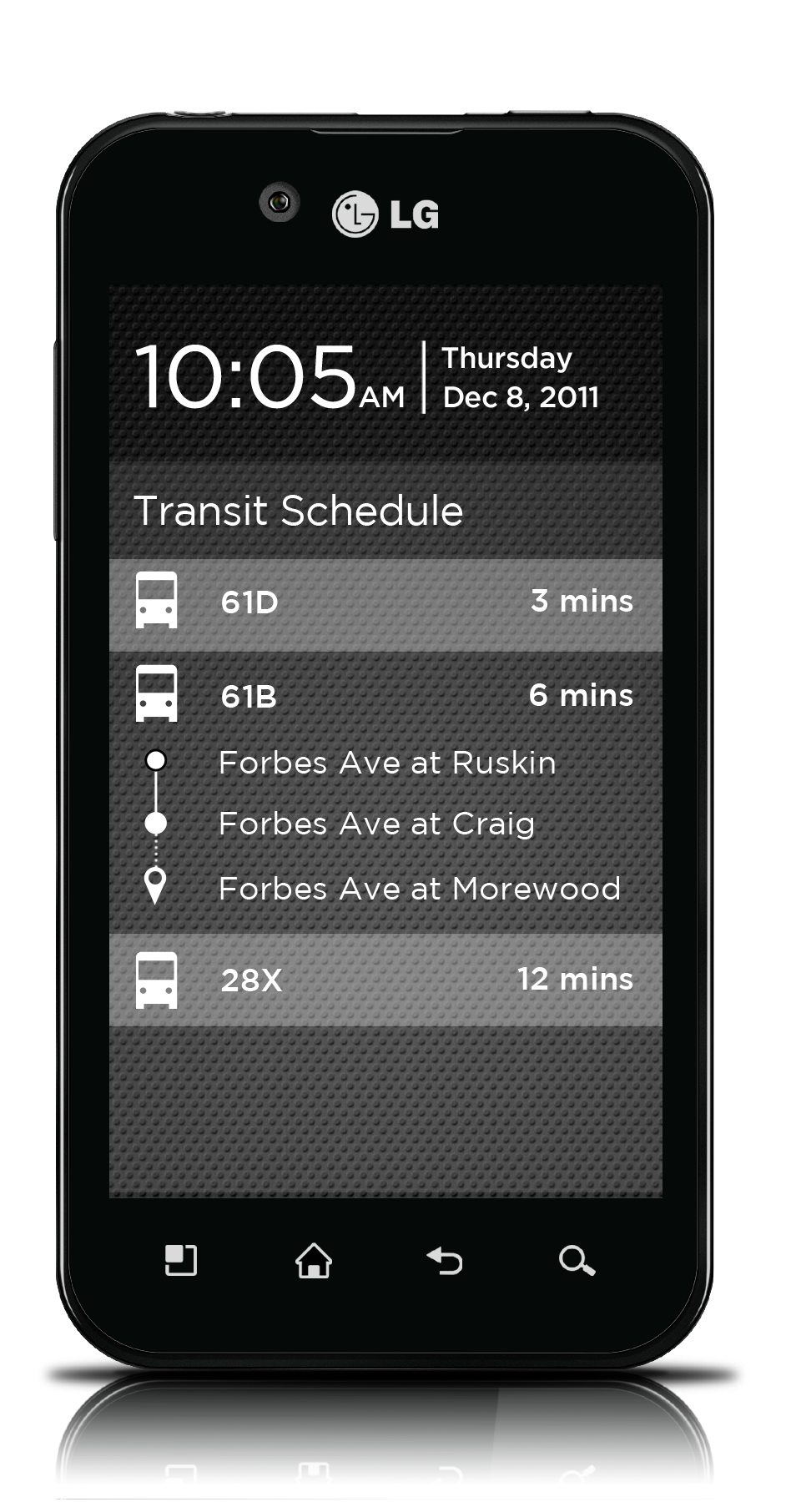 Tapping a bus reveals real-time arrival information