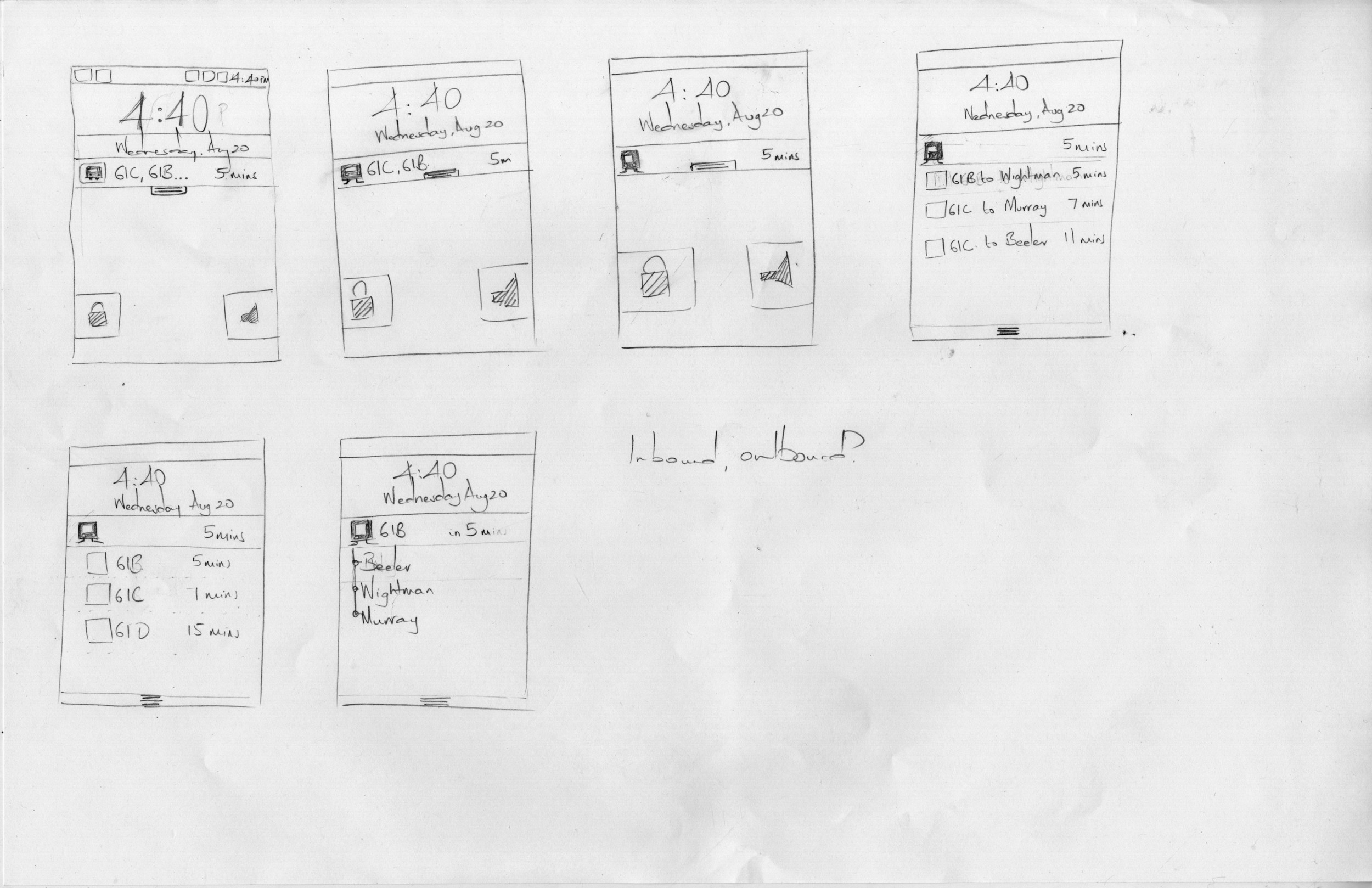 Low-fidelity sketches explore a possible flow for a lock screen concept