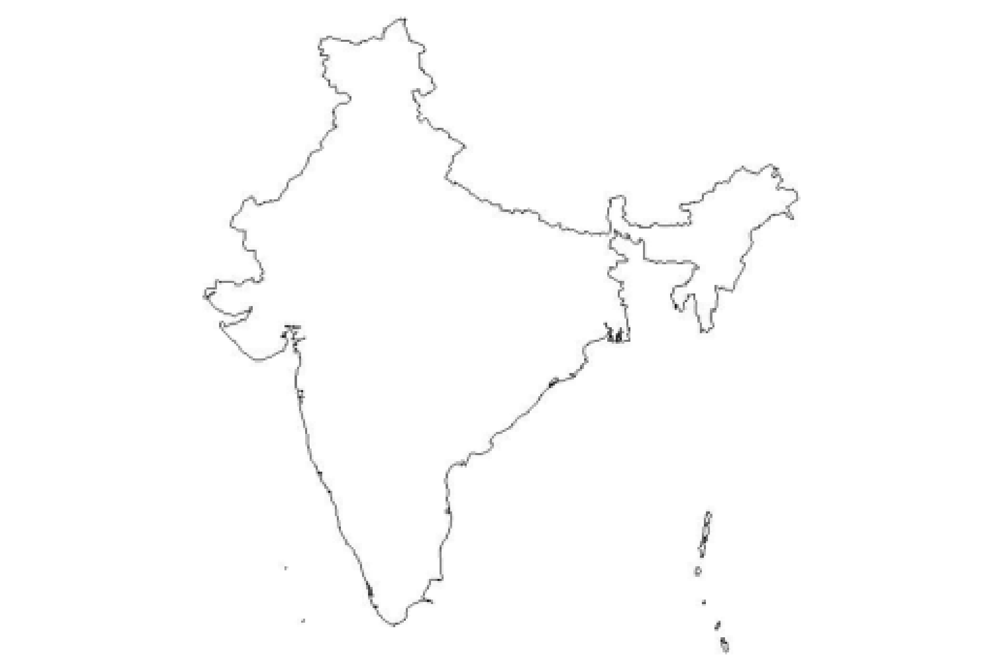 1. An original image showing a textbook map of India