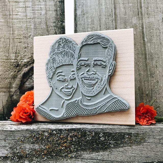Just FALLing in love over here. Horrible October pun, sorry. But, we wanted to show you this big 3 Inch Couple Stamp we knocked out today. Too cute. . . . . . #customstamp #gifts #weddinggifts #fallinginlove #love #couples #couplegoals #relationshipgoals #rubberstamps #coupleportraits #portrait #engagements #october #fall
