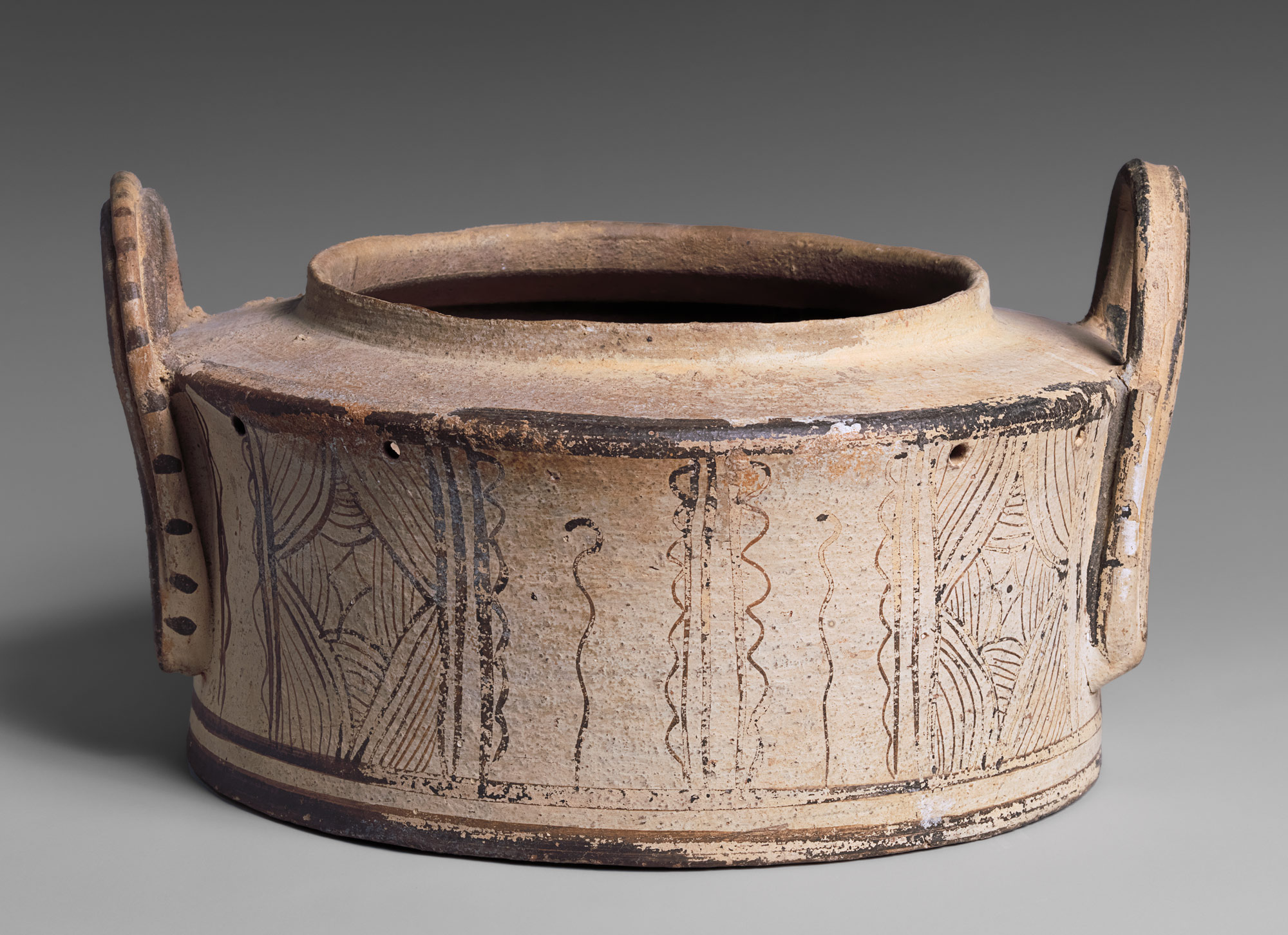 Terracotta Pyxis  (Cylindrical Box) Late Minoan