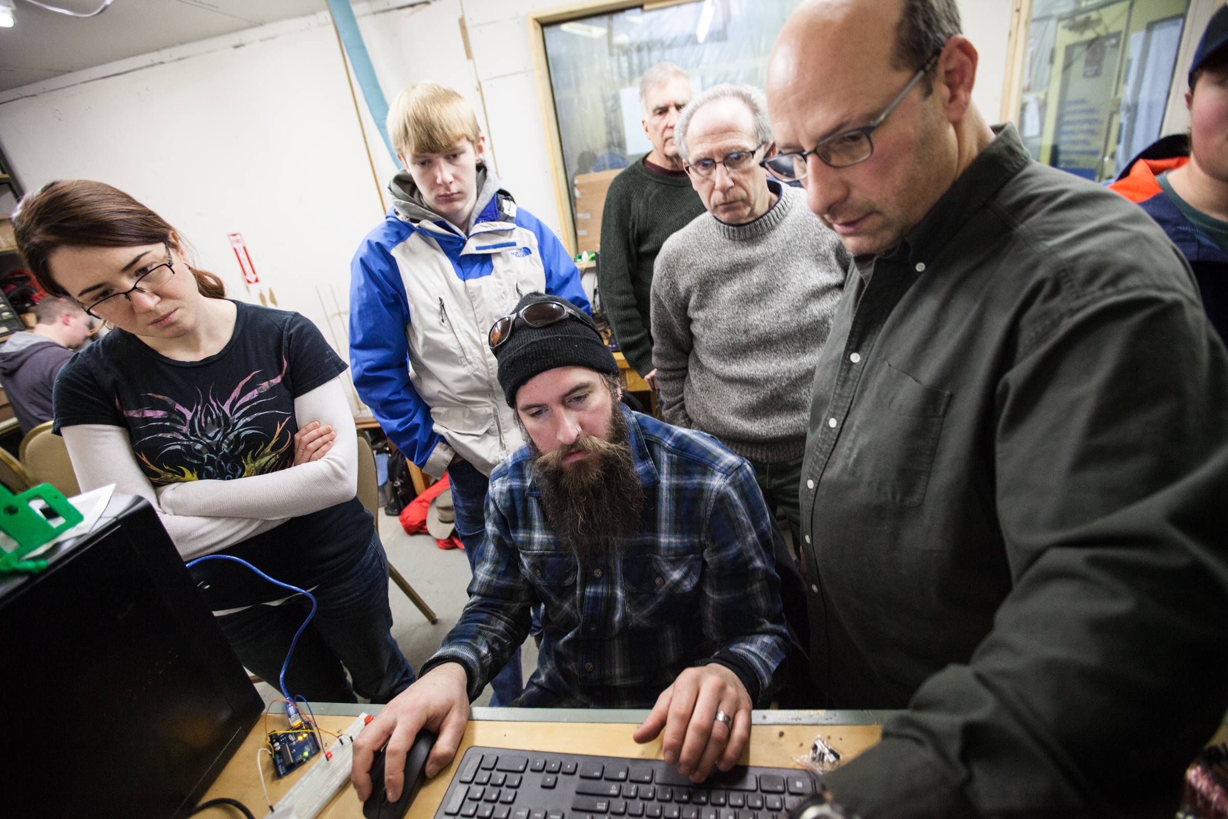 Mat O'Brien learning all about Arduinos at the Open Bench Project in the Electronics Lab, 2016.