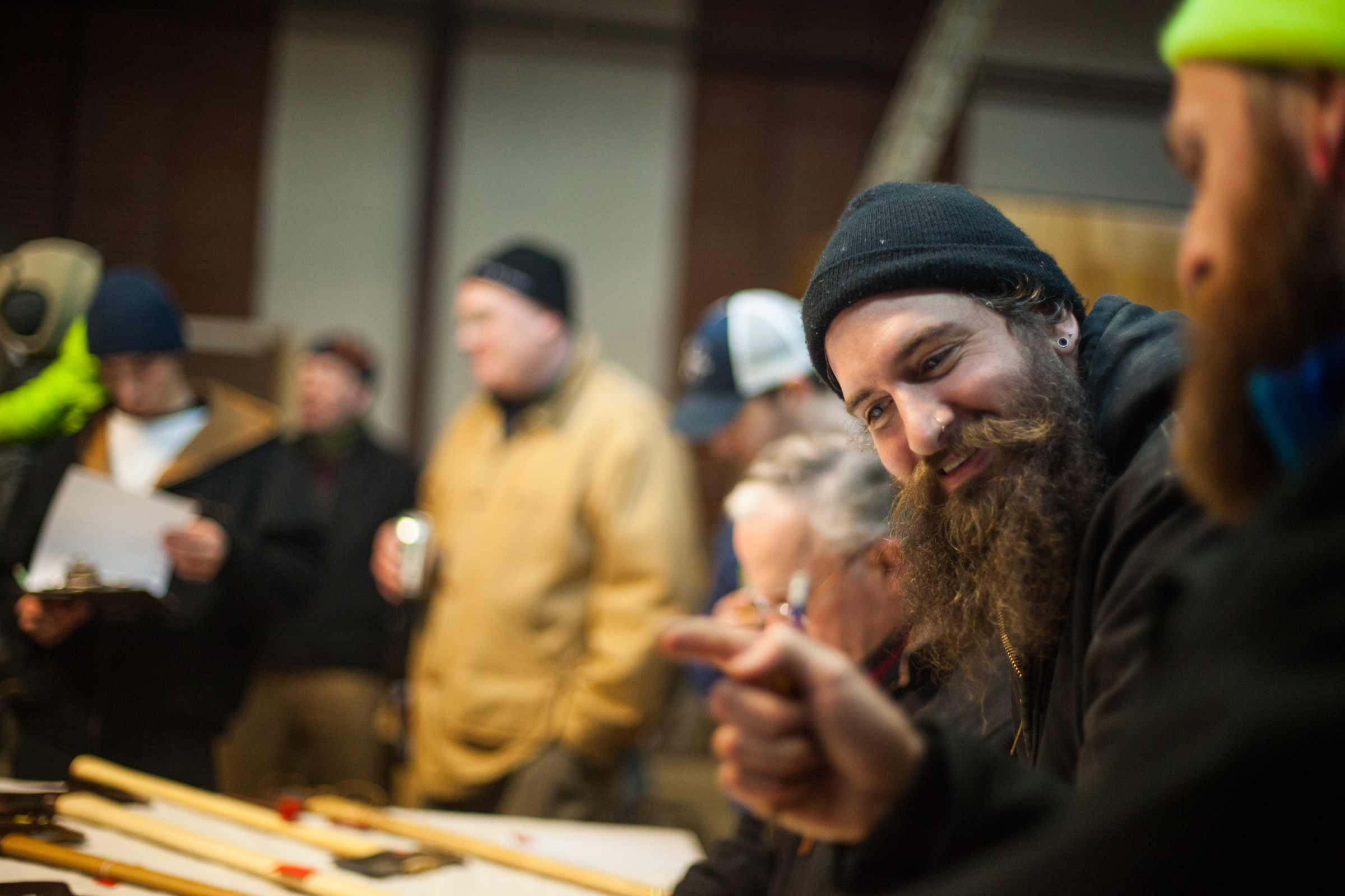 Mat O'Brien supporting Maine Axe makers, Brant & Cochran Tools, in a focus group, 2016.