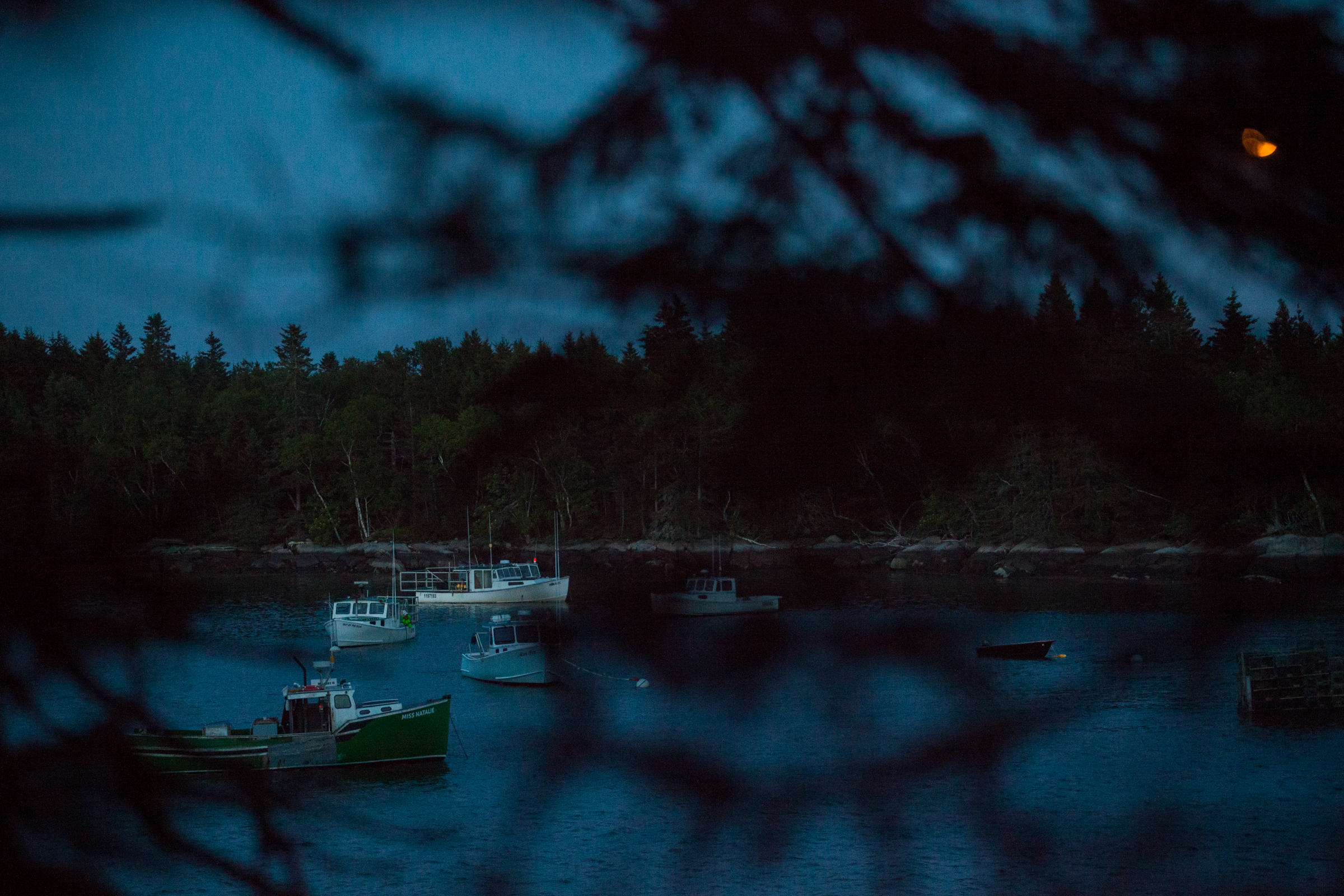 Lobster boats and a full, Strawberry moon over Jericho Bay, from the Grand Staircase. 2016