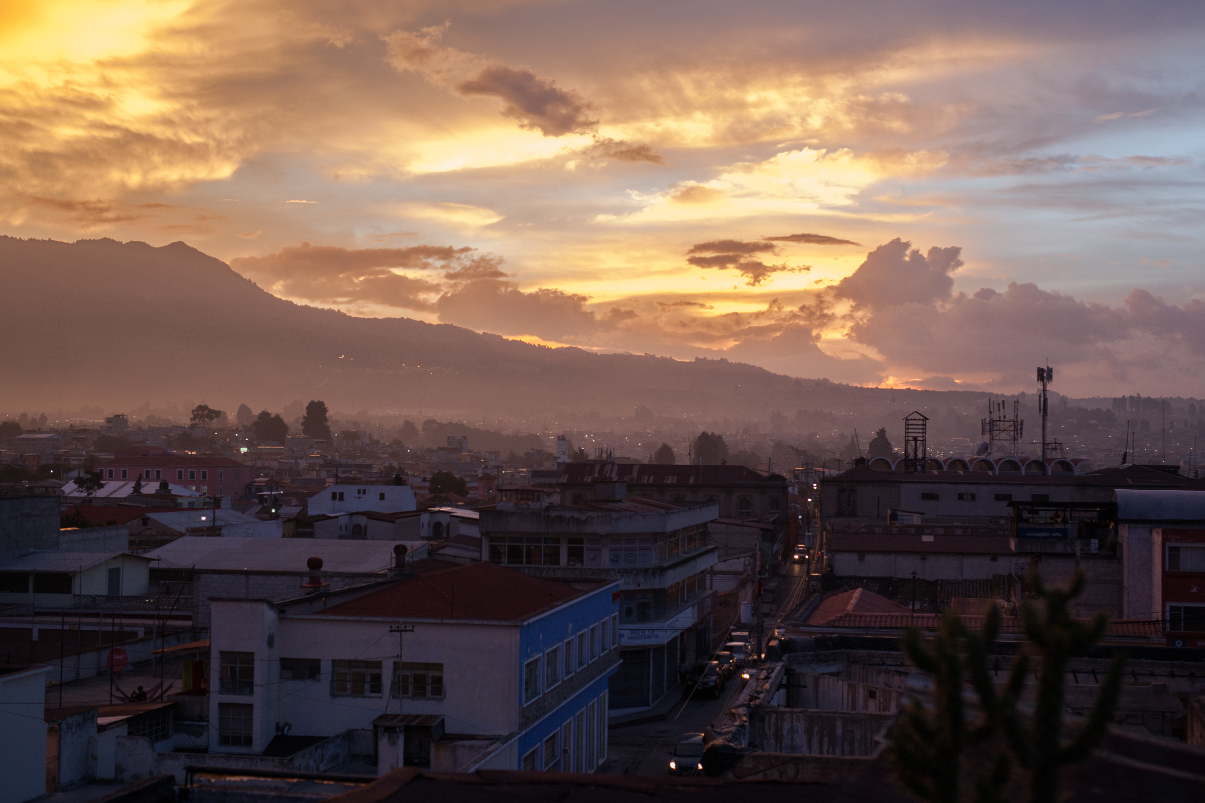 View over Quetzaltenango (Xela), at sundown.