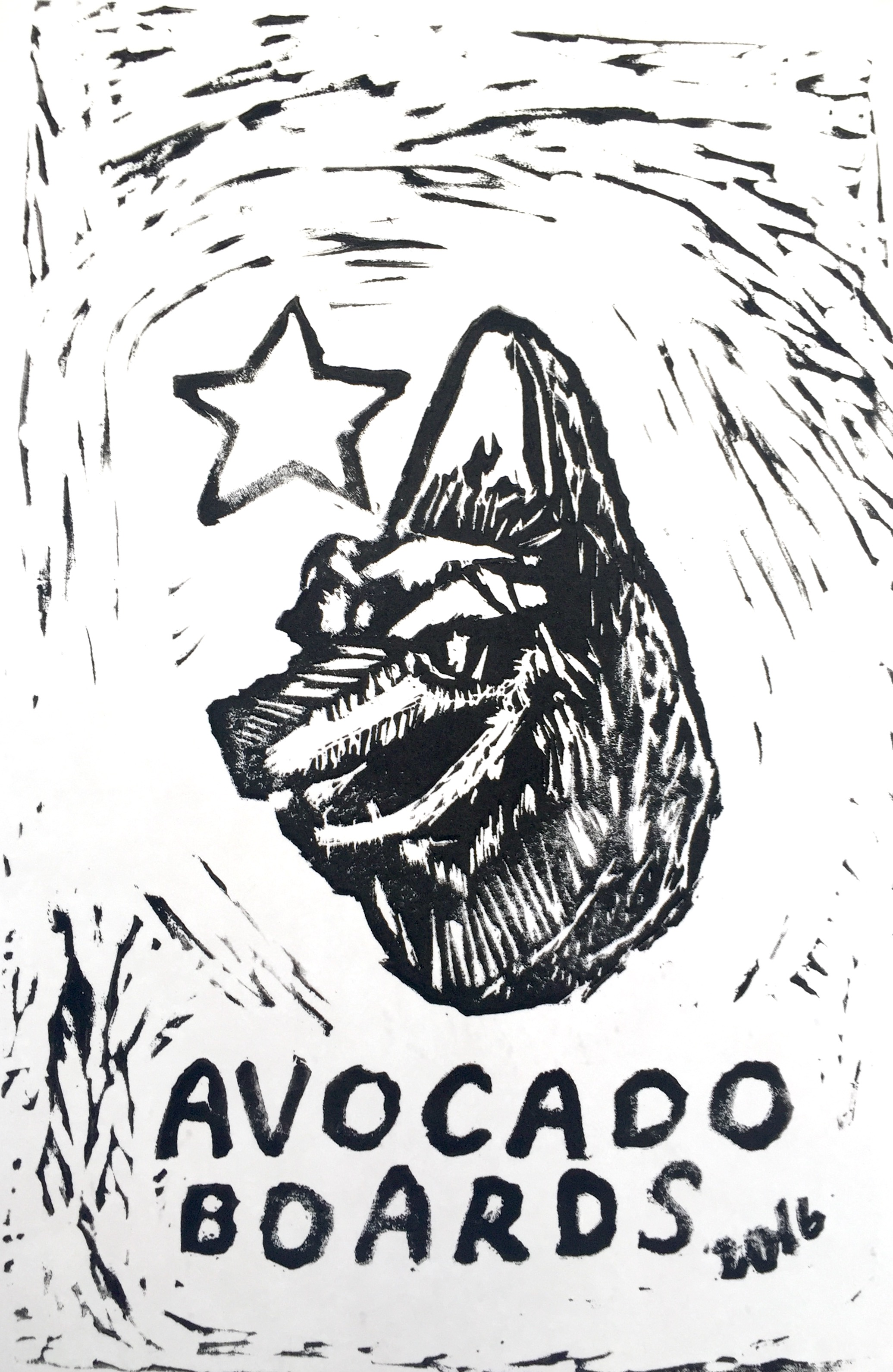 Linocut print at 2016 Avocado Festival. Illustration:  Matthew Perdoni