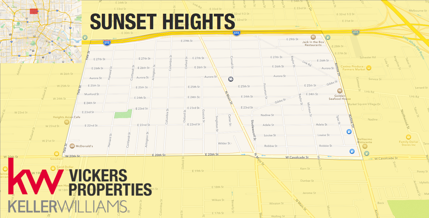 This map shows the location of Sunset Heights. The community is bordered by North Loop 610, 20th Street, Yale Street and Airline Drive.
