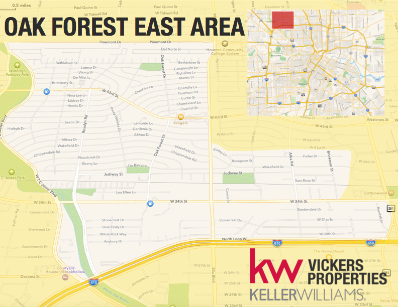 Houston's Oak Forest area is divided into east and west regions. The Oak Forest East area is shown on this map. Click to enlarge.