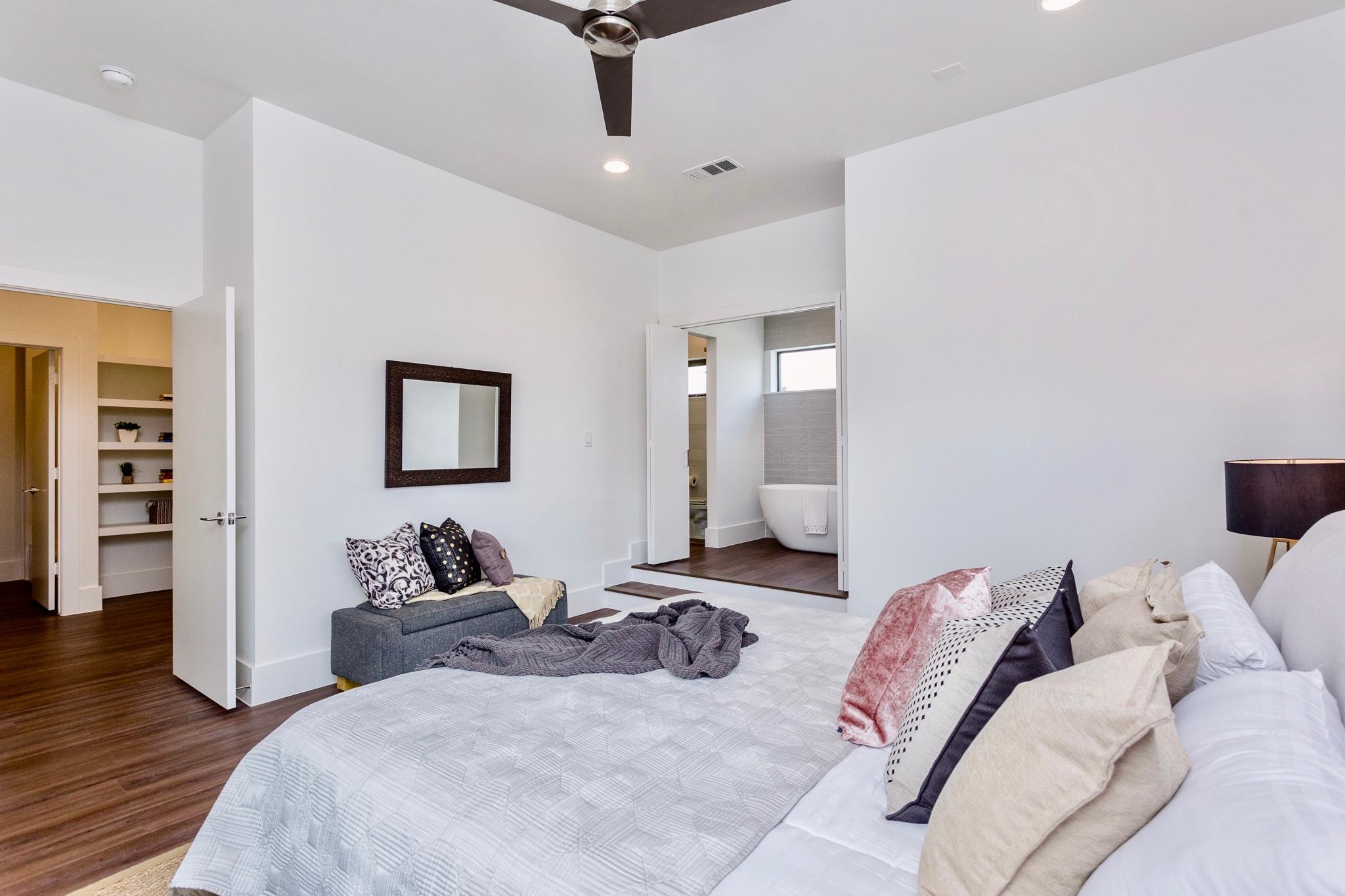 The elegant master bedroom invites relaxation.