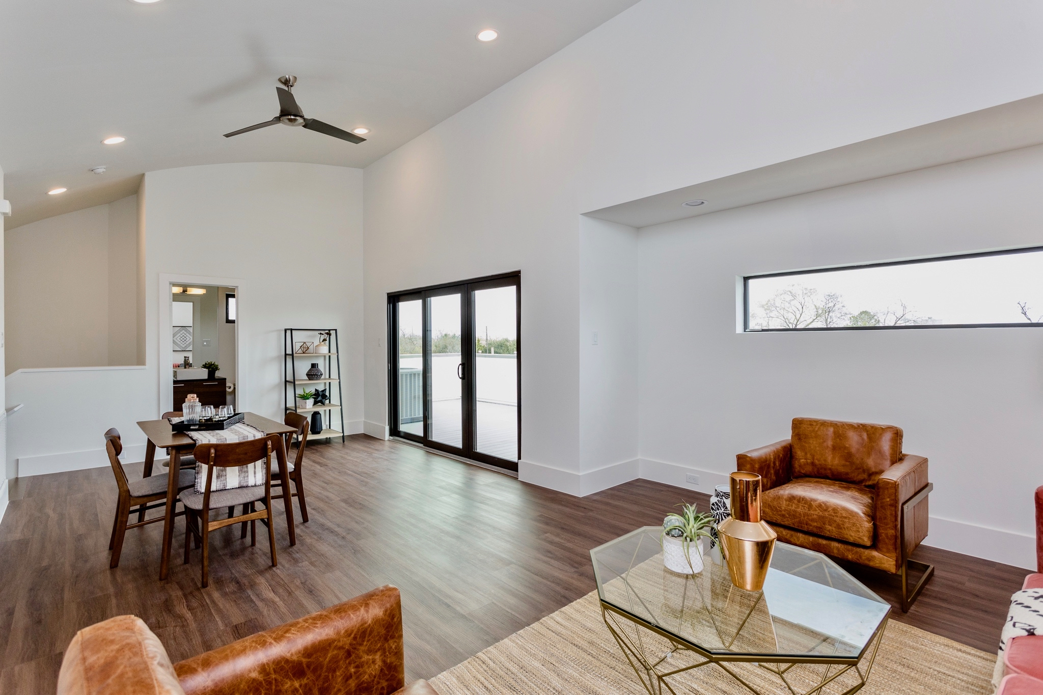 You'll appreciate the impressive dimensions of this versatile living space as well as its distinguishing arched ceiling.