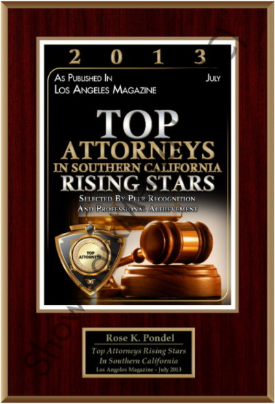 Top Attorneys Rising Stars 2013 - Named one of the Top Attorneys Rising Stars in Southern California by Los Angeles Magazine in 2013