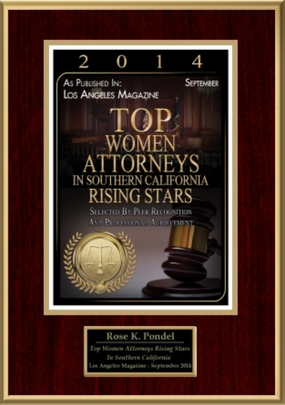 Top Women Attorneys Rising Stars 2014 - Named one of the Top Women Attorneys Rising Stars in Southern California by Los Angeles Magazine in 2014