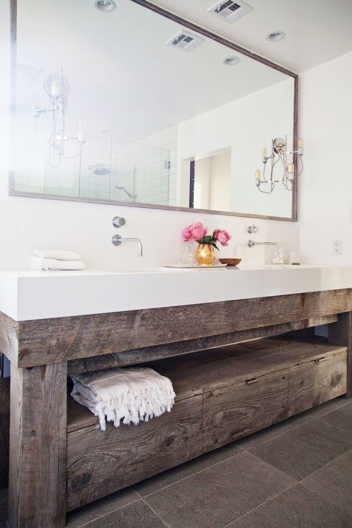 ...and ILOVE recycled wood and crates for cabinets and shelving... there is something about the organic nature of the wood that makes it so homely...