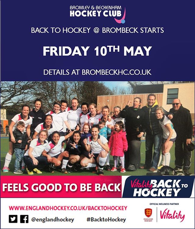 ‪Back to Hockey starts Friday 10th May...looking to join a team, get fit and enjoy socials why not come down and give us a try‬ ‪@EnglandHockey @Vitality_Uk ‬ ‪ Spread the word, family and friends welcome, all standards!‬ ‪#BacktoHockey #ThisGirlCan #GetInspired #englandhockey #HockeyFamily #hockey #fieldhockey #brombeckhc #ladies‬ ‪#sport #social‬