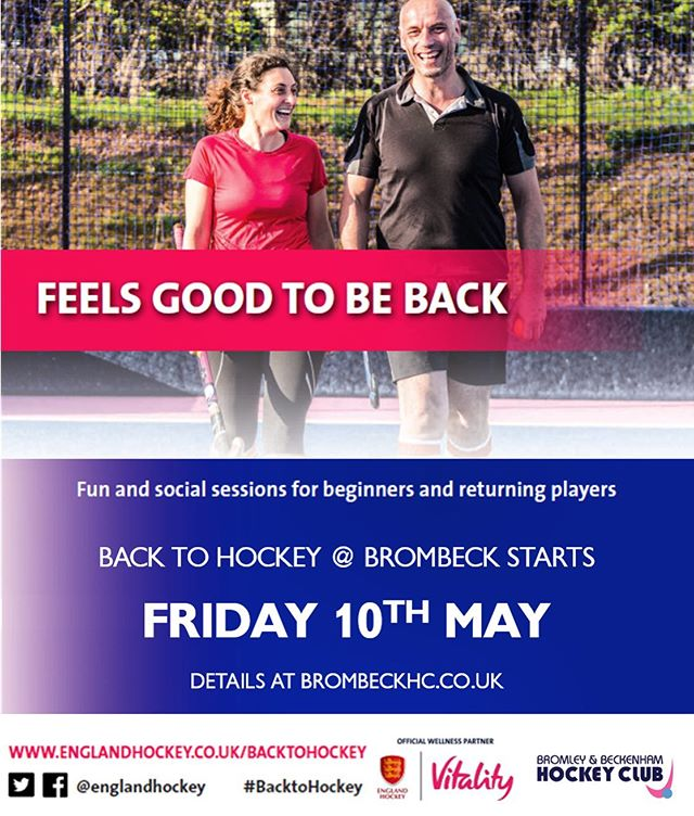 ‪Back to Hockey starts **THIS** Friday 10th May...looking to join a team, get fit and enjoy socials why not come down and give us a try‬ ‪@EnglandHockey @Vitality_Uk ‬ ‪ Spread the word, family and friends welcome, all standards!‬ ‪#BacktoHockey #ThisGirlCan #GetInspired #englandhockey #HockeyFamily #hockey #fieldhockey #brombeckhc #ladies‬ ‪#sport #social‬