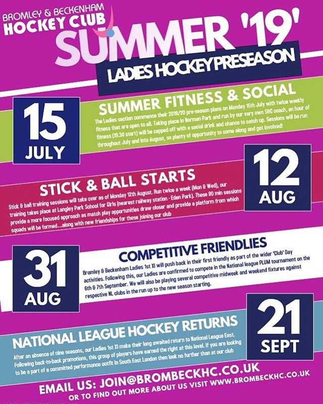 ‪**PRE-SEASON SCHEDULE**‬ ‪Looking to join a new club next season??? Why not join us at pre-season training. Everyone welcome‬ ‪#preseason #training #brombeck #hockeytraining #hockeyfitness #thisgirlcan #summer19 #ladieshockey #summerbod #fitness #teamsports ‬#gbhockey #hockeygb