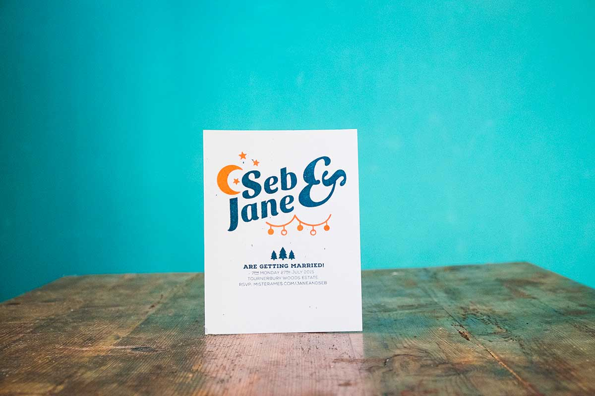 Wedding invitations: lovingly screen printed by the couple themselves