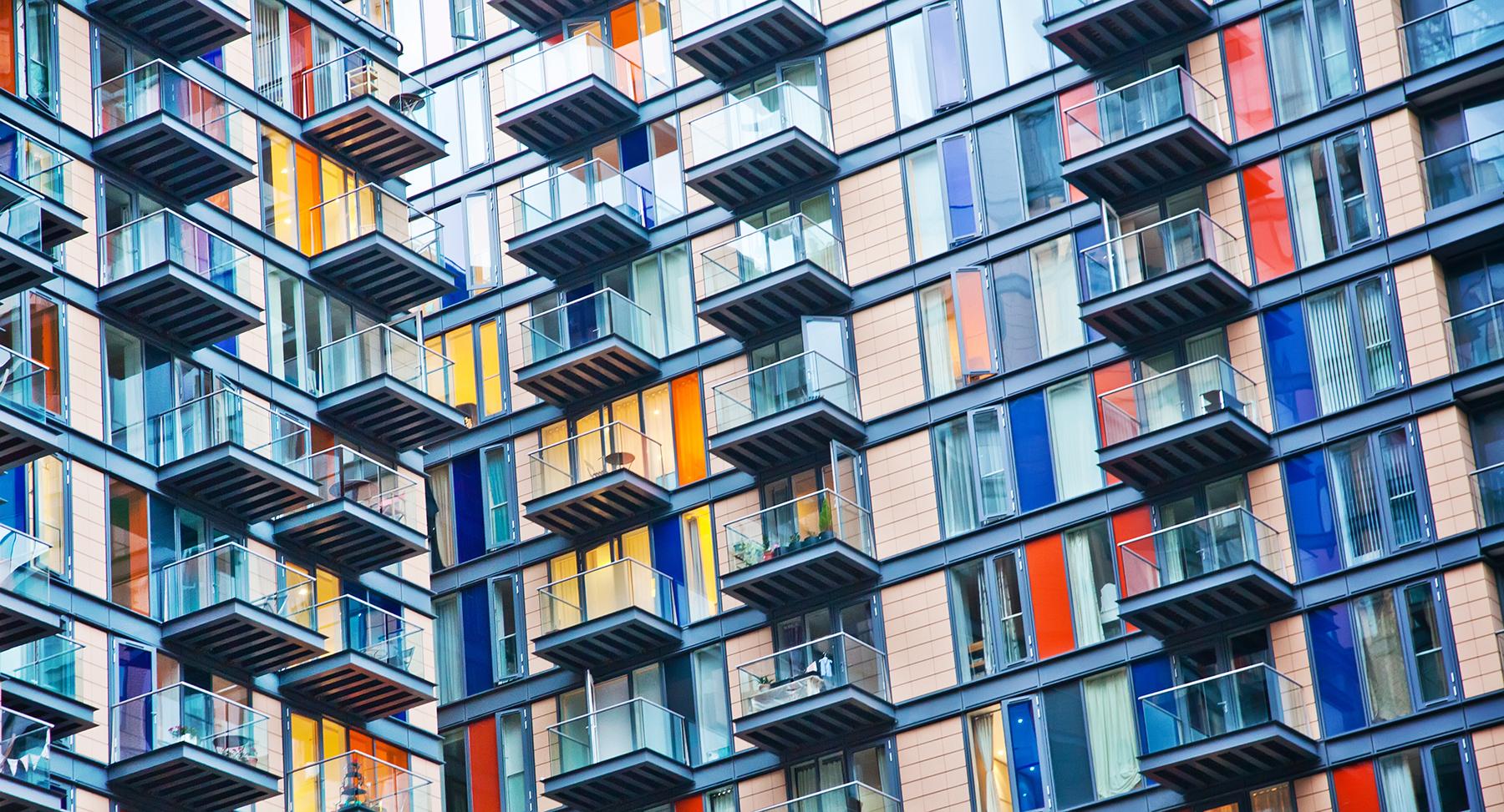 Gekleurde appartementen