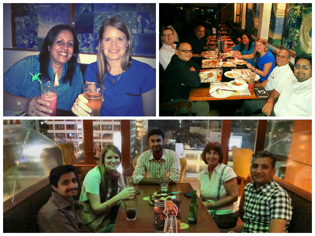 Top left:Aysha and Emma, top right: Emma with colleagues and alumniin Chennai, bottom: Emma with alumni in Bangalore.
