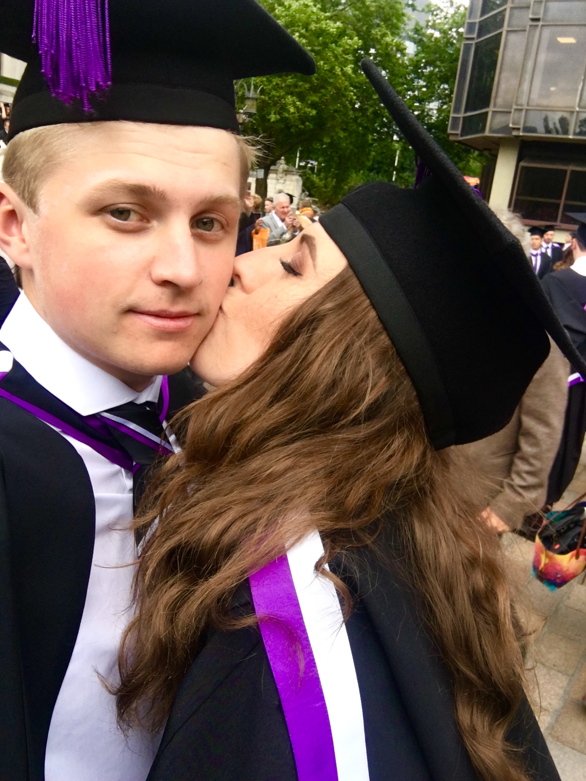 Rebecca Hams and George Savoury - ...have been together for 3 years and moved in together earlier this year! They first met in Bateson Halls in September 2014 where their flats were next door to each other, and later discovered they were also course mates. Both graduating in 2017, Rebecca studied History and George studied History and American Studies.