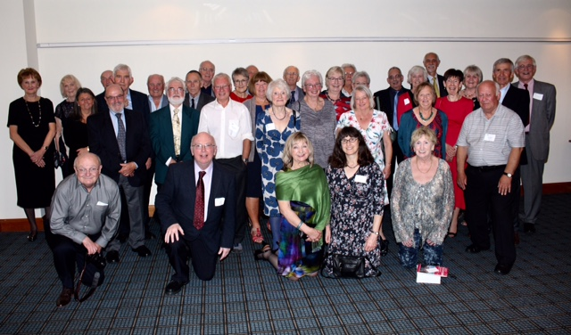 The class of 1968, some with husbands and wives, when they returned to Portsmouth to mark 50 years since they graduated CREDIT: Ken Colley
